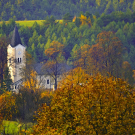 color by Jojo Pried-Horsky - Buildings & Architecture Places of Worship ( religion, autumn, color, slovakia, pružina )