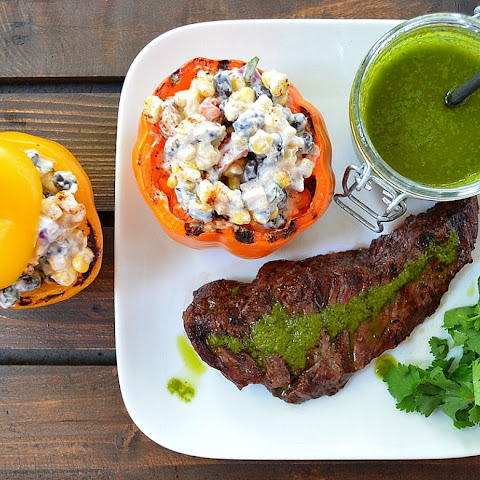 Chimichurri Skirt Steak with Mexican Salad Stuffed Peppers
