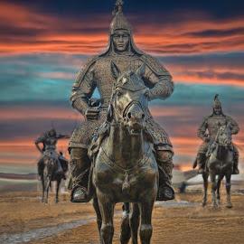Monuments by Tsatsralt Erdenebileg - Digital Art Places ( monument valley, monuments, hero, horses, sunsets, oldman, mongolian )