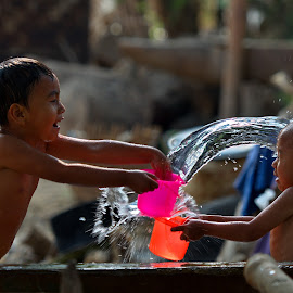 Playing with water  by Aung Kyaw Soe - Babies & Children Children Candids