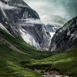 Mountain Glacier Stream by Steve Parsons - Landscapes Travel ( water, stream, mountain, waterfall, alaska, travel, landscape, mountain stream, fjord, glacier, mountains, nature, weather, misty, tracy arm fjord, travel photography, mountain landscape, mist )