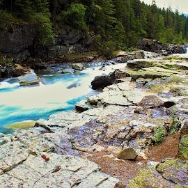 Big Sky Blue Water by Liz Huddleston - Landscapes Waterscapes ( glacier, big sky, montana, scenic, river, glacier national park )