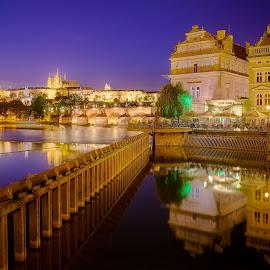 Praha by Huybrighs Marc - City,  Street & Park  Skylines ( moldau, blue, castle, bridge, evening, prague, river )
