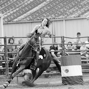Turning and Burning  by Brian  Shoemaker  - Black & White Sports ( speeding, turnandburn, barrelracer, barrels, black and white, horse, rodeo, cowgirl )
