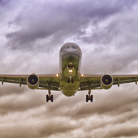 Landing by Dez Green - Transportation Airplanes ( flying, flight, landing, airplane, aircraft )