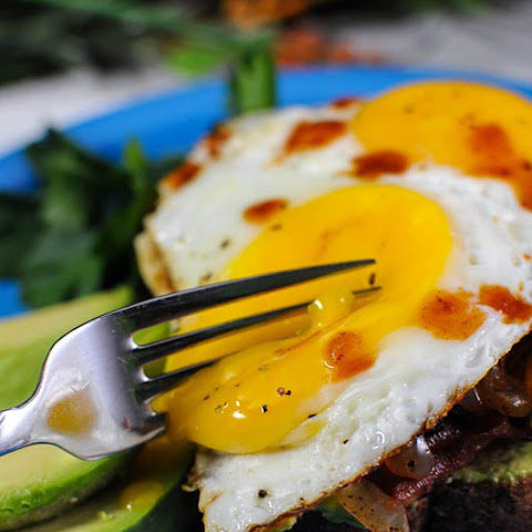 Avocado Bacon Mushroom Egg Toast