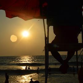 Lifegaurd by Ram Verma - Landscapes Beaches ( nature, sunset, beach, goa, lifegaurd,  )