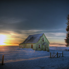 Green Cottage Sunrise by Eric Demattos - Buildings & Architecture Decaying & Abandoned ( orange, lone tree, abandoned home, sunset, eric demattos, house, green cottage, sunrise )