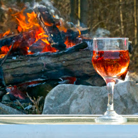 Vino by Rick King - Food & Drink Alcohol & Drinks ( wine, wine glass, fireplace, campfire, fire )