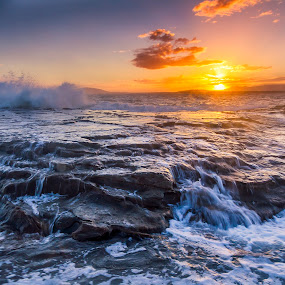 Swell and the Sunset by Andy Hutchinson - Landscapes Sunsets & Sunrises ( clouds, sky, waves, sunset, ocean, surf, rocks )