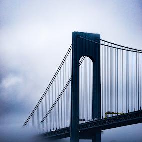 Verrazano-Narrows Bridge in Morning Fog by Chris Mowers - Buildings & Architecture Bridges & Suspended Structures ( verrazano, haze, fog, new york, bridge, morning,  )