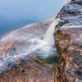 Over Elliot Falls by Kenneth Keifer - Landscapes Waterscapes ( rocky, waterfall, stone, sandstone, rock, flow, blur, nightfall, landscape, coast, nature, pictured rocks national lakeshore, cloudy, long exposure, evening, elliot falls, misty, clouds, edge, flowing, twilight, lake, forest, lake superior, scenic, great lakes, dusk, upper peninsula, michigan, blurred, foggy, splashing, miner's beach, fog, cascade, sundown, trees, cascading, whitewater, pictured rocks, ledges, woods. layers, mist )
