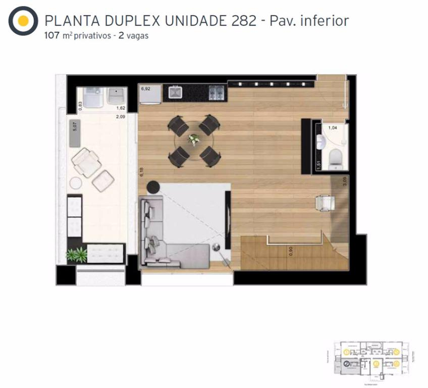 Planta Cobertura Duplex Inferior Final 2 - 107 m²