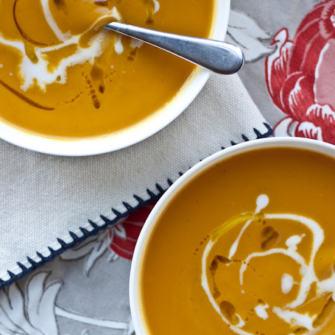 Roasted Acorn Squash and Sweet Potato Soup