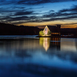 Blue Hour at the Reservoir by David Long - Landscapes Travel