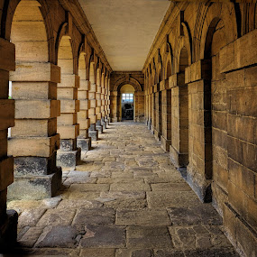 Pillars of Stone by Phil Robson - Buildings & Architecture Public & Historical ( corridor, national trust, deleval hall, seaton deleval, pillars )