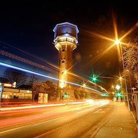 Water Tower at night - Kranj by Daniel Tomanovič - City,  Street & Park  Night ( lights, night photography, kranj, slovenia, night, long exposure, traffic light, nightlife, colours, city )