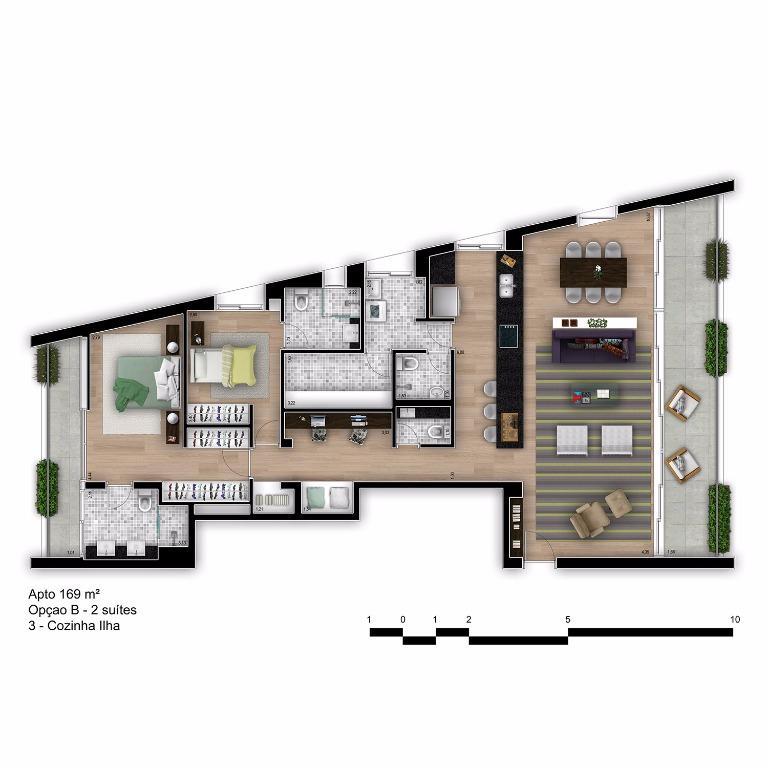 Planta Tipo Final 1B com Cozinha Ilha - 169 m²