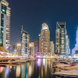 Dubai Marina by Sajeesh Kumar - City,  Street & Park  Skylines ( canon, night life, dubai, uae, long exposure, cityscape, marina, nightscape, city at night, street at night, park at night, nightlife, nighttime in the city )