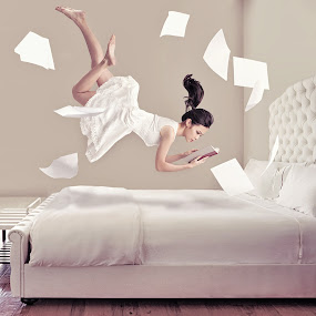 Books by Danny Tan - People Fine Art ( books, paper, bed, floating, white, room )