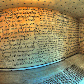 The Wall Of Sayings by Marco Bertamé - Buildings & Architecture Other Interior ( sayings, words, quartier 3, esch/alzette, sentences, exhibition, decayed, wall, luxembourg, room )