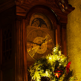 Old Clock at Christmas by Keith Wood - Artistic Objects Antiques ( kewphoto, clock, christmas, antique, keith wood )