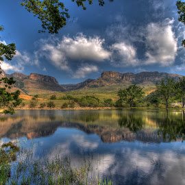 Drakensberg reflections. by Mike Morgan - Landscapes Mountains & Hills