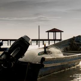 Fishing Speed Boat by Loh Jiann - Transportation Boats ( dawn, pasir panjang, bridge, transportation, boat )