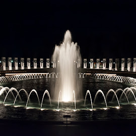 WWII Memorial by Keith Reling - Buildings & Architecture Statues & Monuments ( wwii memorial, fountains, night,  )