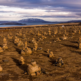 Icelandic Cairns by Rob Taylor - Landscapes Travel ( cairns, mountains, desert, sunset, unusual, rocks, shadows,  )