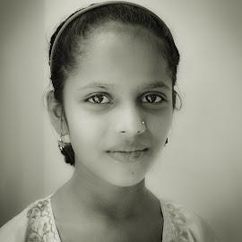 Simran by Prasanta Das - Babies & Children Child Portraits ( girl, black and white, young, portrait )