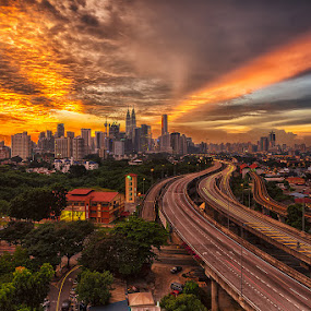 The Burning City by Lb Chong Jacobs - Landscapes Sunsets & Sunrises