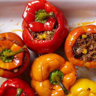 Black Bean, Mushroom, and Quinoa Stuffed Peppers Recipe
