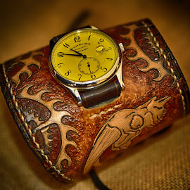 Wristband With Watch by Marco Bertamé - Artistic Objects Other Objects ( watch, brown, yellow, wristband, leather, wrist watch )