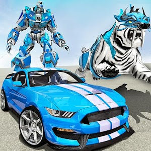 US Police Transform Robot Car White Tiger Game for pc