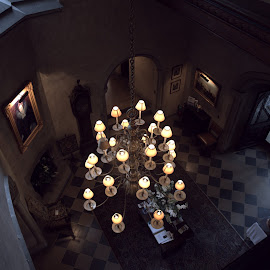 Looking Down At the Mansion Lobby  by Lorraine D.  Heaney - Buildings & Architecture Public & Historical