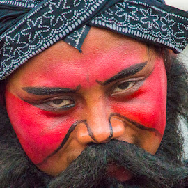 the red face by Sucipto Darmaputra - People Portraits of Men ( jfc, face, reog ponorogo, indonesia, artist, reog, man,  )