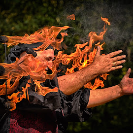 Game With The Fire by Marco Bertamé - Abstract Fire & Fireworks ( man, fire )