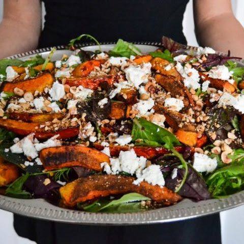 Salad with Oven Roasted Pumpkin & Feta Cheese