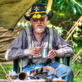 She wore a yellow ribbon by Mick Tate - People Portraits of Men ( battle, reenactor, american, yankee, cavalry )