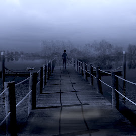 Stranger by Ana Paula Filipe - Digital Art Places ( foggy, blue, back, stranger, man )