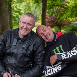 Bikers by Paul James - People Portraits of Men ( friends, bikers, happy, leathers, men )