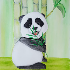 Baby Panda by Paula Moore - Painting All Painting ( watercolor, bamboo, panda, baby, painting )
