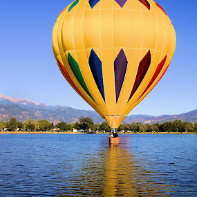 Sunny Reflection by Jen Millard - Transportation Other ( reflection, hot, lake, air, balloon )