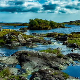 Beautiful waterscape in Galway Ireland  by Carol Ward - Landscapes Waterscapes ( clouds, mountains, waterscape, galway ireland, lanscape, rocks, river )