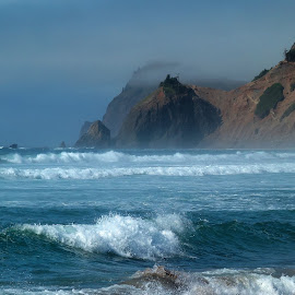 Oregon September by Randall Brewer - Landscapes Waterscapes ( waves, cascade head, re, pacific ocean, oregon coast, misty, summer, god's thumb )