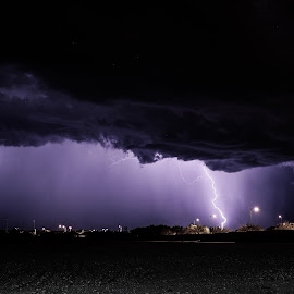 Lightning on a stormy night by Anthony Sapone - Landscapes Weather ( lightning, monsoon, arizona, night, storm )