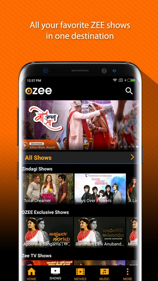 OZEE Free TV Shows Movie Music Screenshot 1