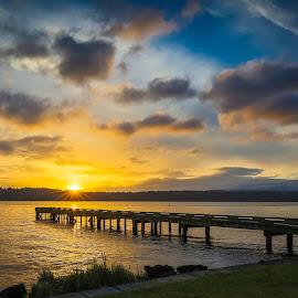 Sunrise on the lake by Brad Larsen - Landscapes Sunsets & Sunrises ( clouds, lake, sunrise, landscape, dock )