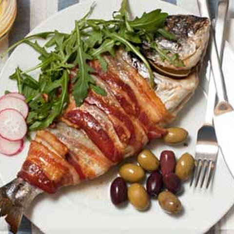 Baked Sea Bream Wrapped in Bacon